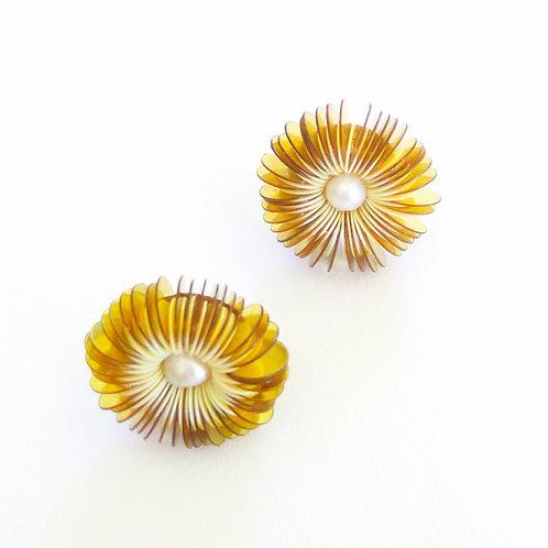 contemporary greek jewelry Misineza vinyl urchin stud earrings