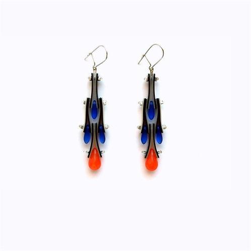 contemporary greek jewelry Misineza vinyl peacock dangling earrings