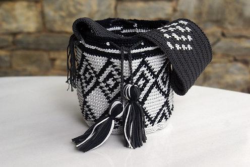 Geometric Crochet hand black Bag