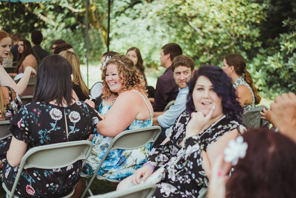 Campbell River Wedding Photographer at Haig Brown House Wedding Venue, the guests are smiling