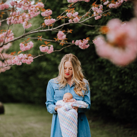 Outdoor New Born Photography | Victoria BC Family Photographer | Cherry Blossom Trees