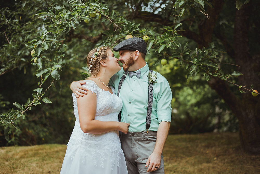 Campbell River Wedding Photographer at Haig Brown House with Newly Weds