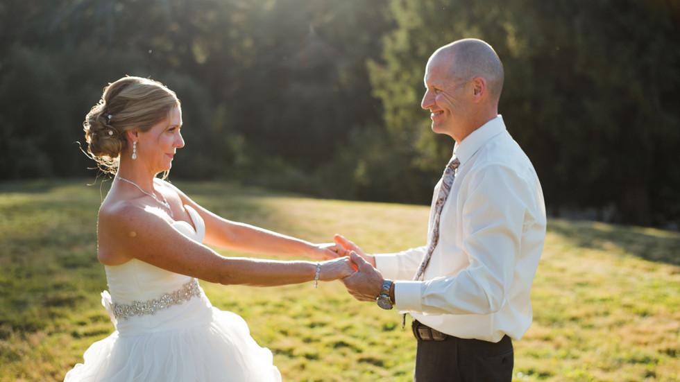 Wedding Videographer in Victoria BC films backyard wedding