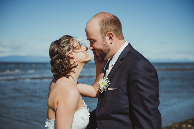 Campbell River Wedding Photographer taking photos of bride and groom's first look