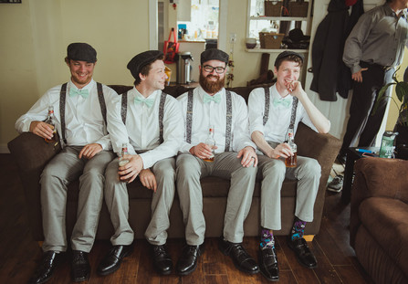 Campbell River Wedding Photographer taking 'getting ready' images of groomsmen
