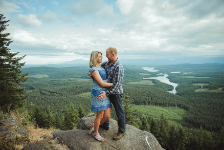 Campbell River Wedding Photographer taking Engagement Photos at Menzie's mountain