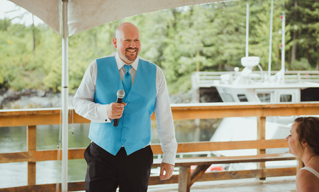 Groom sings to Bride during their Telegraph Cove Wedding