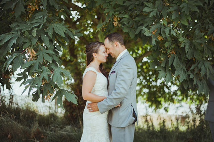 Quadra Island Wedding with Campbell River Photographer. Husband and Wife share their First Look before the wedding ceremony