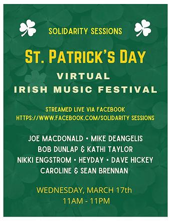 St. Patrick's Day Virtual Festival Poste