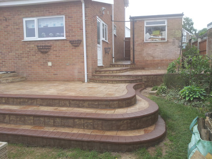 patterned concrete patio and steps