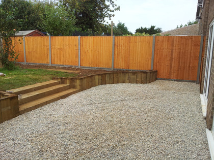gravel patio with sleepers