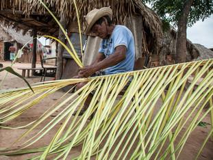 trançando palha de buriti para cobrir a casa antes da época das chuvas HN0876_karaja