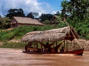 transporte, barco, casa, aldeia HN0031_kaxinawa