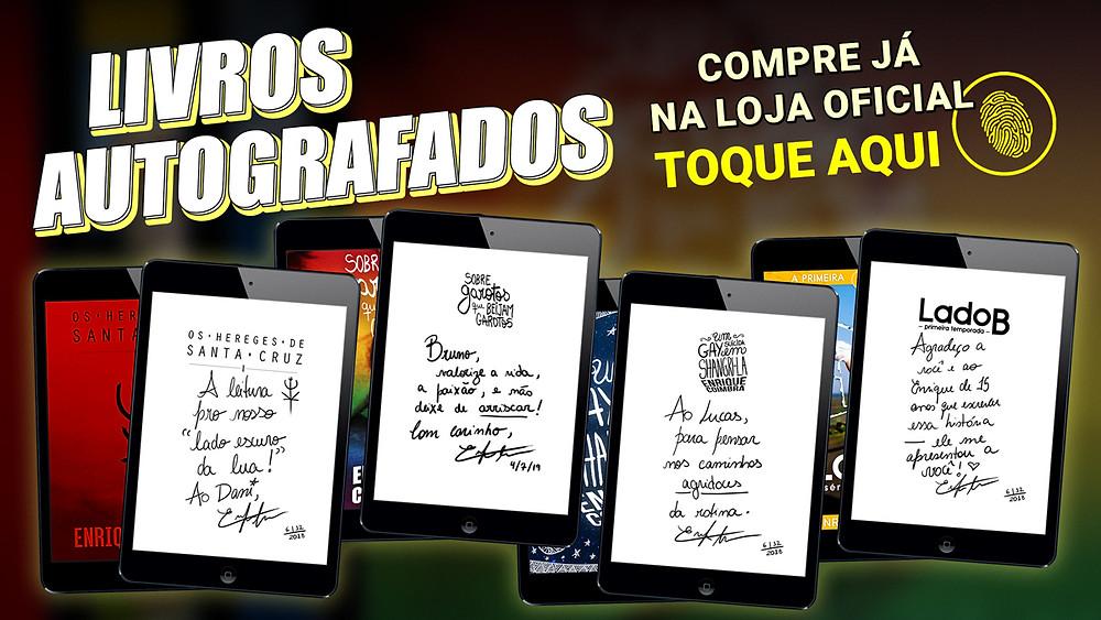 Livros autografados do autor Enrique Coimbra.