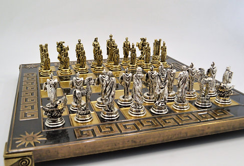 Trojan War Chess Set - Meander Brown Oxidation Board