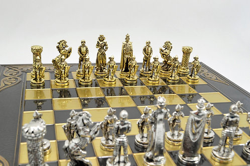 Medieval Chess Set - Flower Brown Oxidation Board