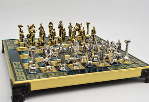 Hoplite Chess Set - Meander Blue Board