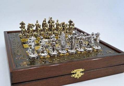 Don Quixote Chess Set - Brown Board Wooden Gift Box