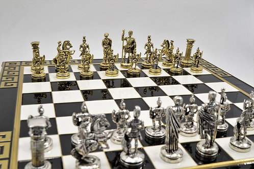 Roman Empire Chess Set - Black & White Board