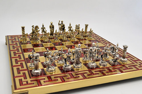 Roman Empire Chess Set - Meander Red Board