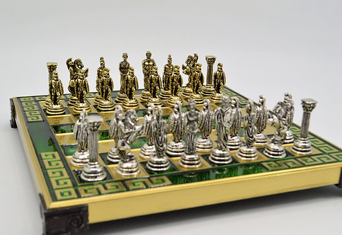 Agamemnon Chess Set - Meander Green Board