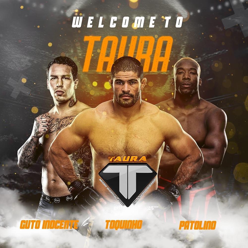 Os lutadores Guto Inocente, Rousimar Toquinho e William Patolino são os novos contratados do Taura.