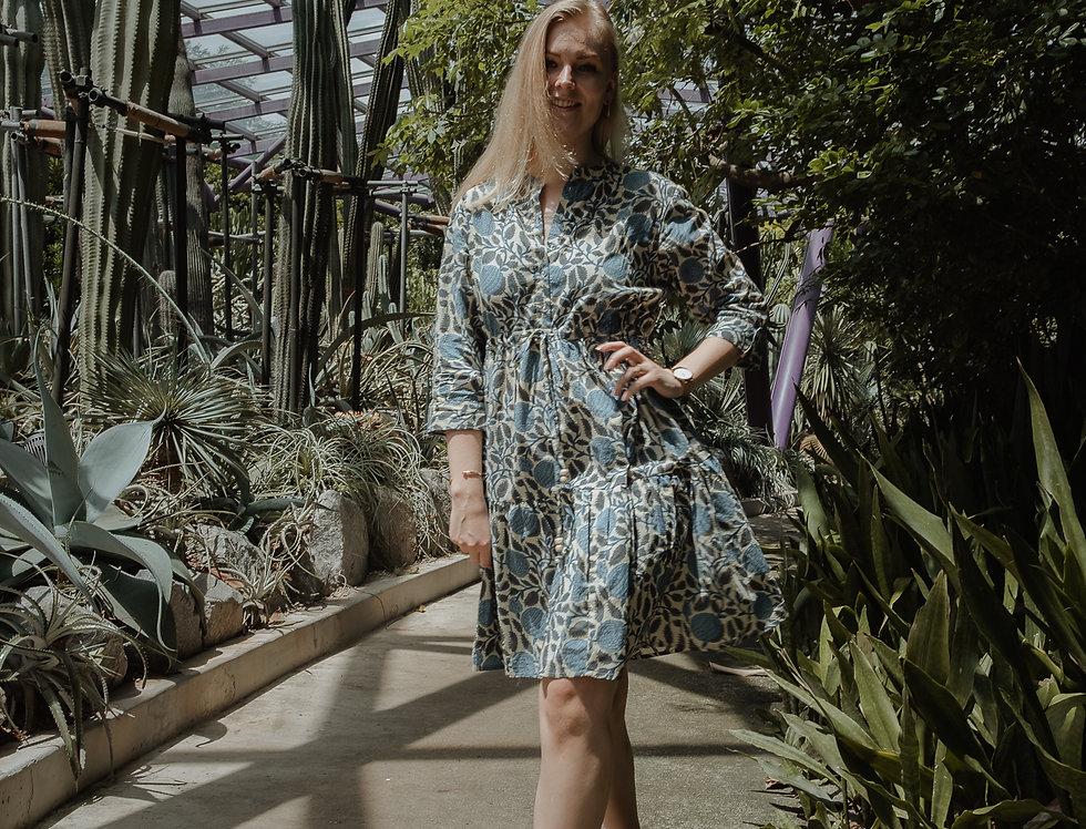 Blue Floral Cotton Mala Dress