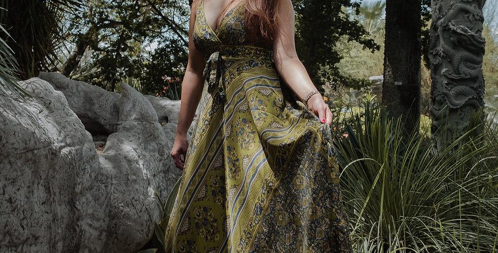 Olive Green Paisley Maxi Dress