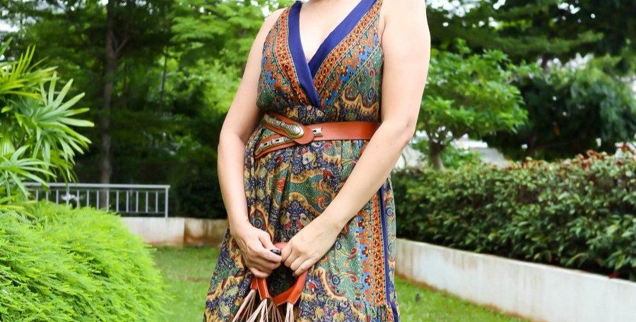 Navy Blue Paisley Maxi Dress