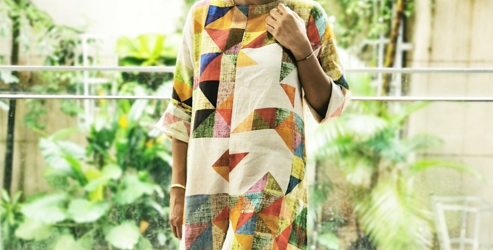 Natural Linen Geometric Print Dress