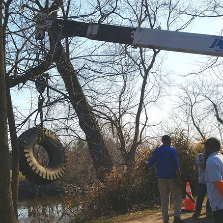 2,300-pound Tire Removed from Creek