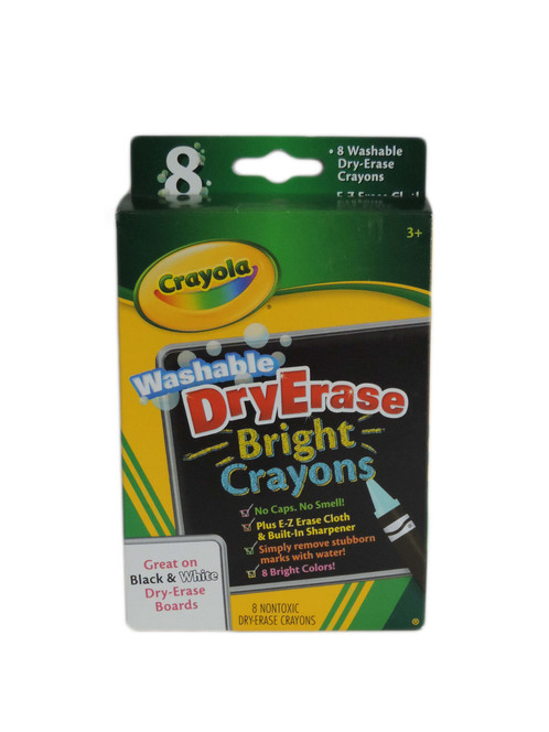 the crayons come in 8 bright colors and includes e z erase mitt built in sharpener colors included are red blue green yellow orange violet