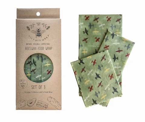 "LilyBee Beeswax Wraps 3-Pack ""Air Show"""