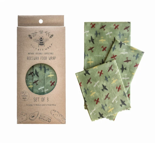 """LilyBee Beeswax Wraps 3-Pack """"Air Show"""""""