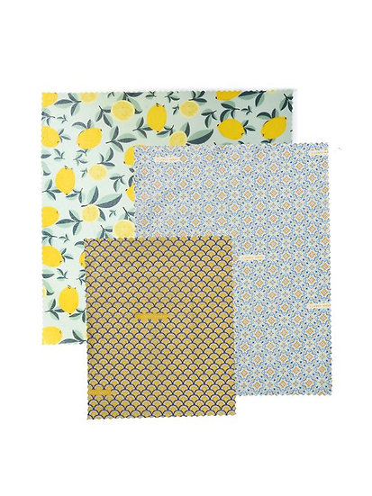 "LilyBee Beeswax Wraps 3-Pack ""Sicilian Citrus"""