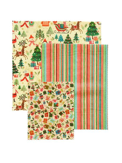 "LilyBee Beeswax Wraps 3-Pack ""Santa's Little Helper"""