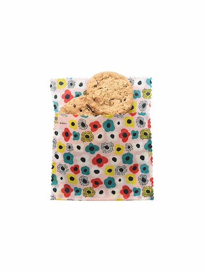 "LilyBee Beeswax Wraps Large Sandwich Bag ""Poppies"""
