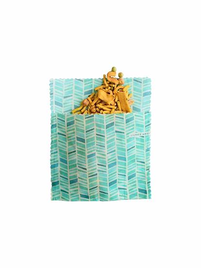 "LilyBee Beeswax Wraps Large Sandwich Bag ""Pelagos"""