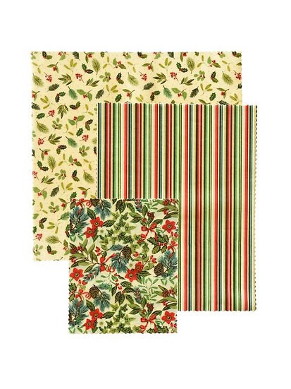 "LilyBee Beeswax Wraps 3-Pack ""Deck The Halls"""