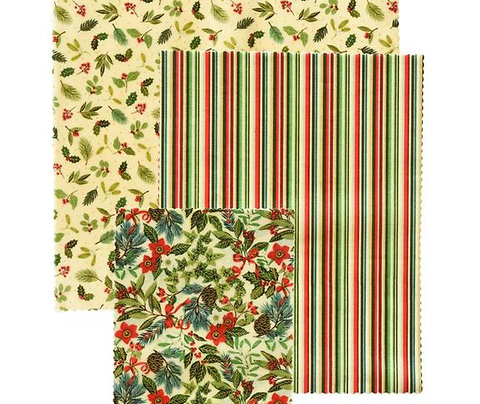 """LilyBee Beeswax Wraps 3-Pack """"Deck The Halls"""""""