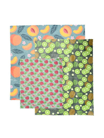 "LilyBee Beeswax Wraps 3-Pack ""Fruit Bowl"""