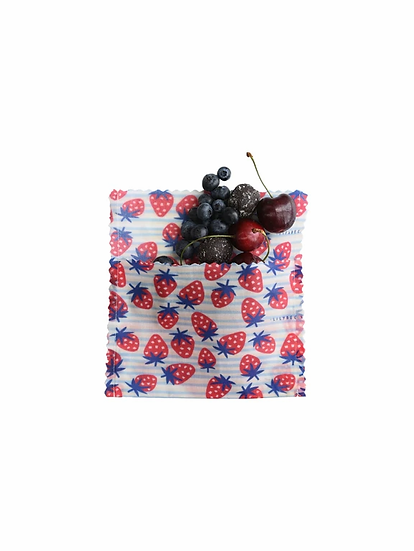 "LilyBee Beeswax Wraps Large Sandwich Bag ""Strawberry Fields"""
