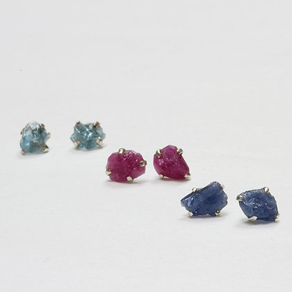 Raw Gemstone Studs