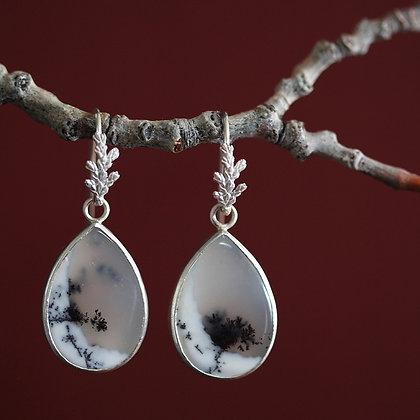 Cedar Sprig Dendritic Opal Earrings