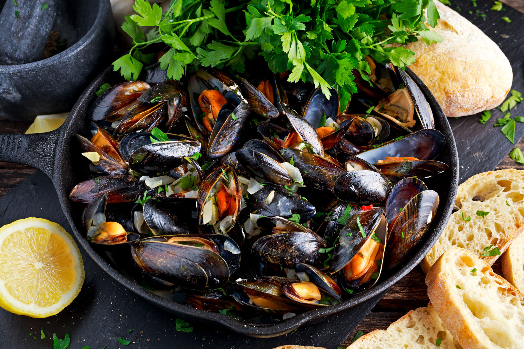 Hand picked Scottish mussels
