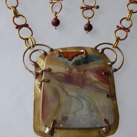Misty Mountain Jasper mounted on handmade jeweler's bronze frame and chain. (set) $325