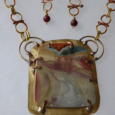 Misty Mountain Jasper mounted on handmade jeweler's bronze frame and chain. (set) $325