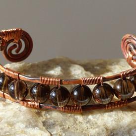 Copper and Smoky Quartz Bracelet, $90