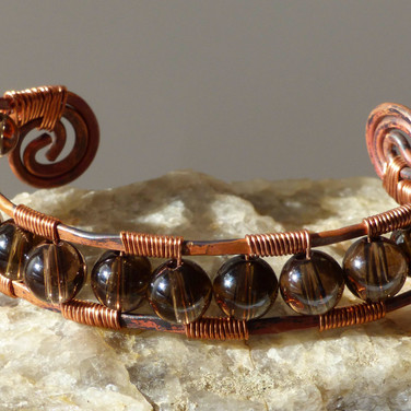 Copper and Smoky Quartz Bracelet, $90