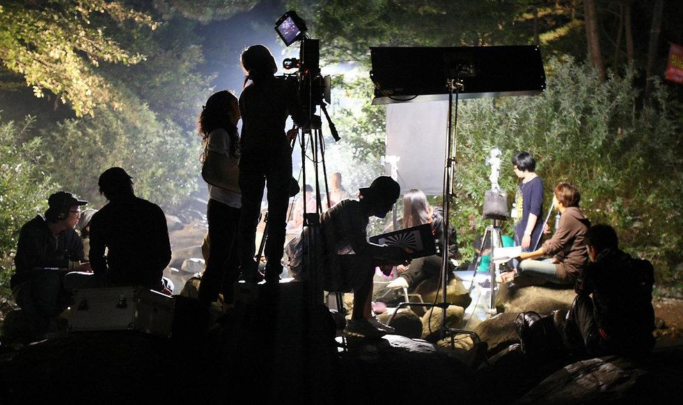 Justin LeBrun on set